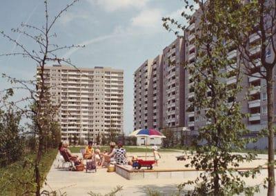 Siedlung Kranichstein Darmstadt, 1965–1968  Ernst May, Neue Heimat Südwest, Stadtplanungsamt Darmstadt, Günther Grzimek (Landschaftsarchitektur)